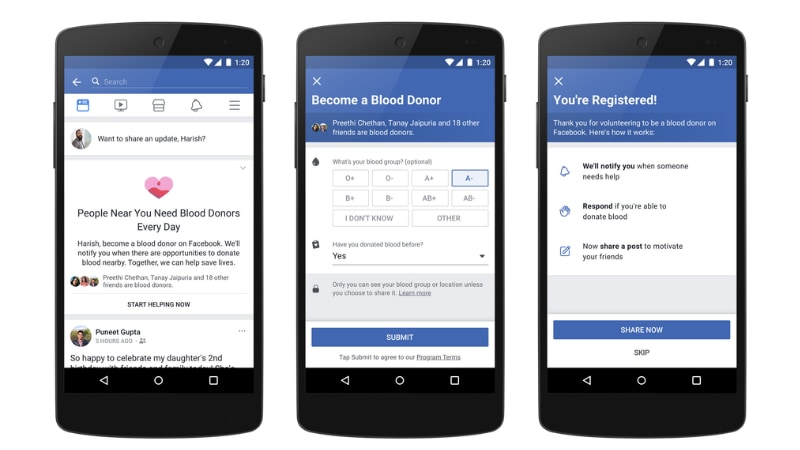 facebook donor platform inline Facebook Blood Donations