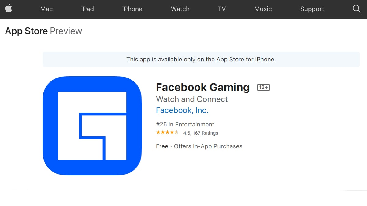Facebook Gaming iOS App Launched Without Mini Games Section to Meet Apple App Store Policies