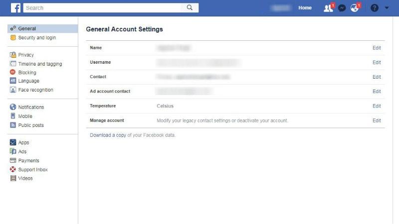 facebook general settings Facebook general settings
