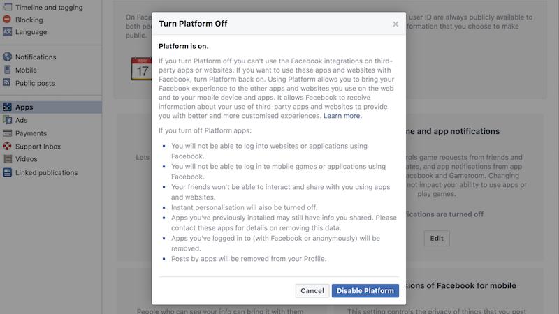 facebook platform off Facebook