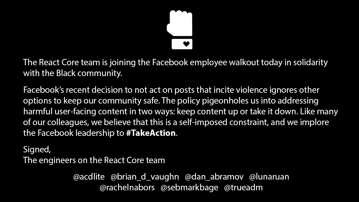 facebook react code team statement against zuckerberg stand trump post Facebook
