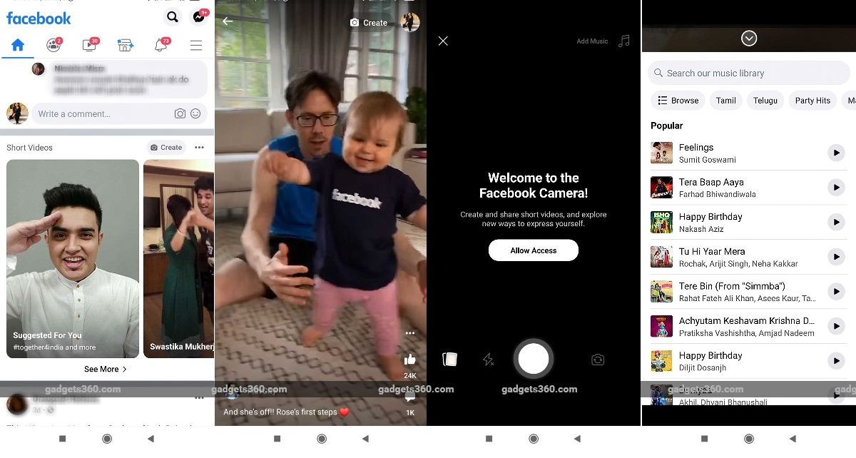 Facebook tests TikTok-style video format on its main app in India