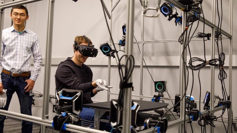 Facebook CEO Mark Zuckerberg Shows Off Prototype Gloves for Oculus Rift VR Headset