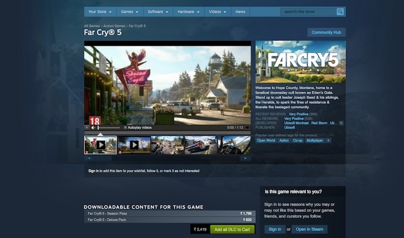 Far Cry 5 PC Steam Version Removed From Sale in India, China