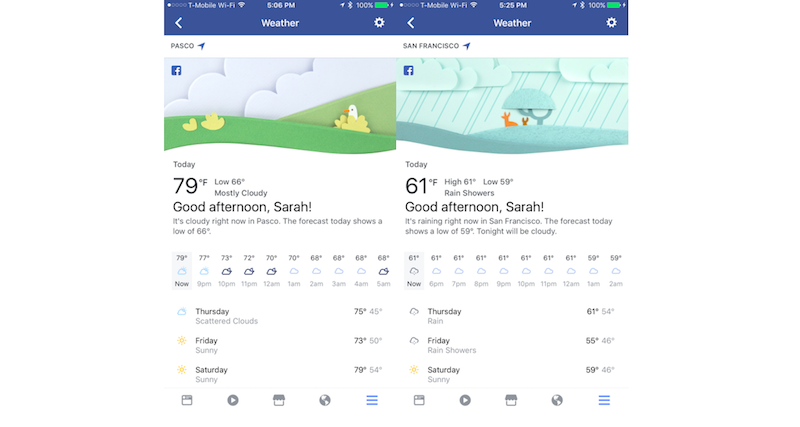 Facebook Launches New Weather Section for Forecasts