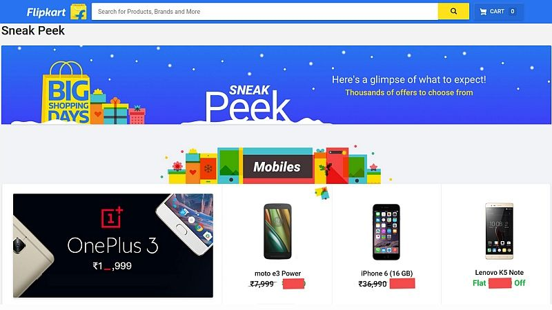 Flipkart Big Shopping Days Sale to See Discounts on OnePlus 3, Moto E3 Power, and More