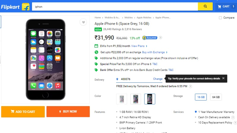 iPhone 6 16GB Variant Available for as Low as Rs. 9,990 on Flipkart With New Exchange Offer