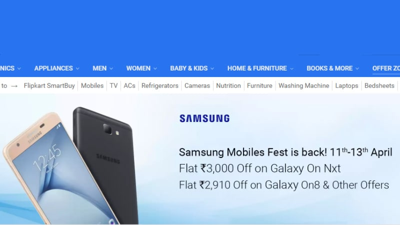 f3eb819f98b Flipkart Hosts Samsung Mobile Fest and TV Days Sale  Here s What s on Offer