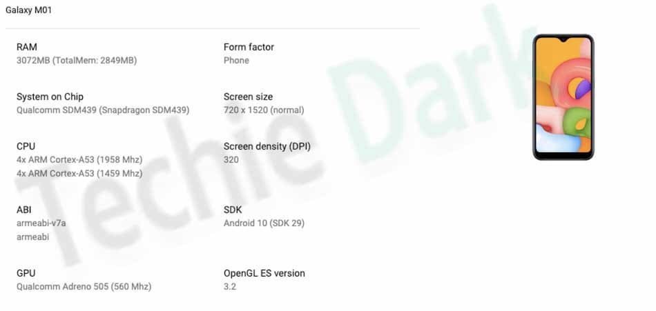Samsung Galaxy M01 Reportedly Spotted on Google Play Console, Key Specifications Tipped