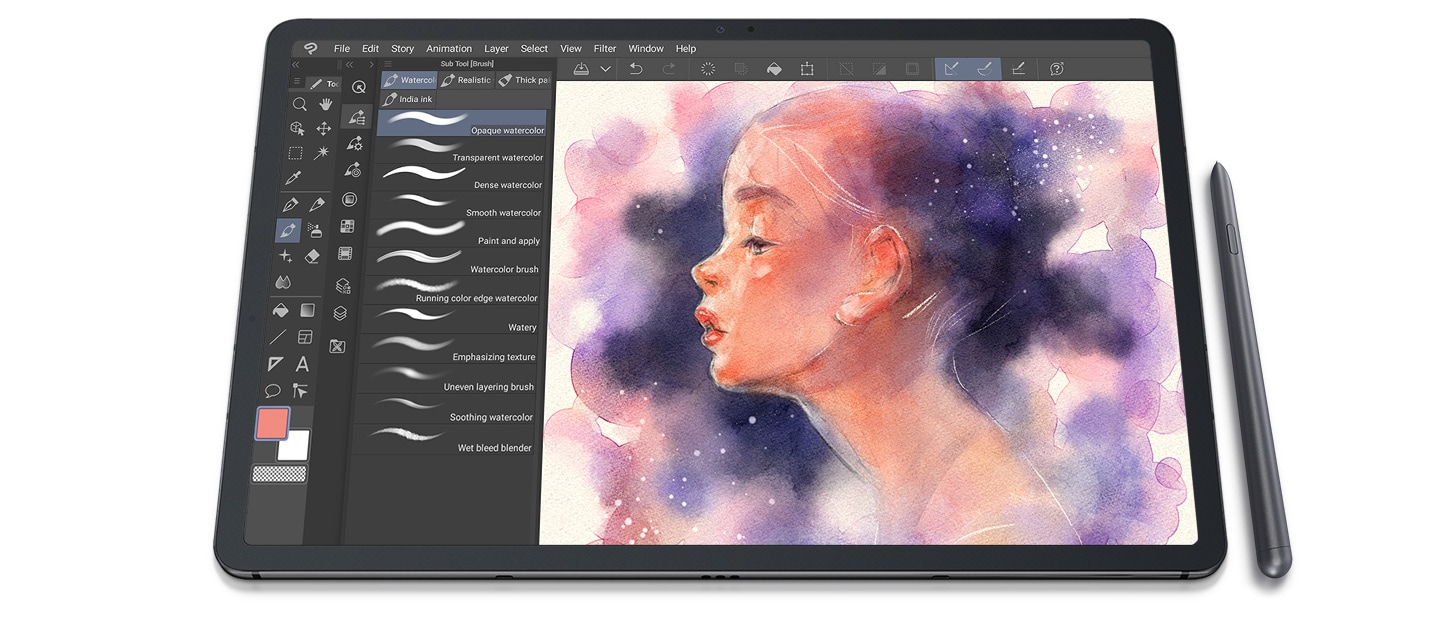 galaxy tab s7plus fron clip studio paint ui screen pc