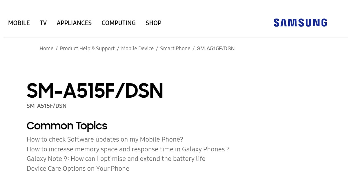 Samsung Galaxy A51 Support Page Goes Live on Samsung India Website Hints at Imminent Launch