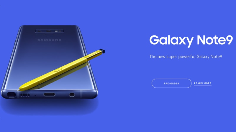 Samsung Galaxy Note 9 US Pre-Orders Go Live With Freebies on Offer, Availability From August 24
