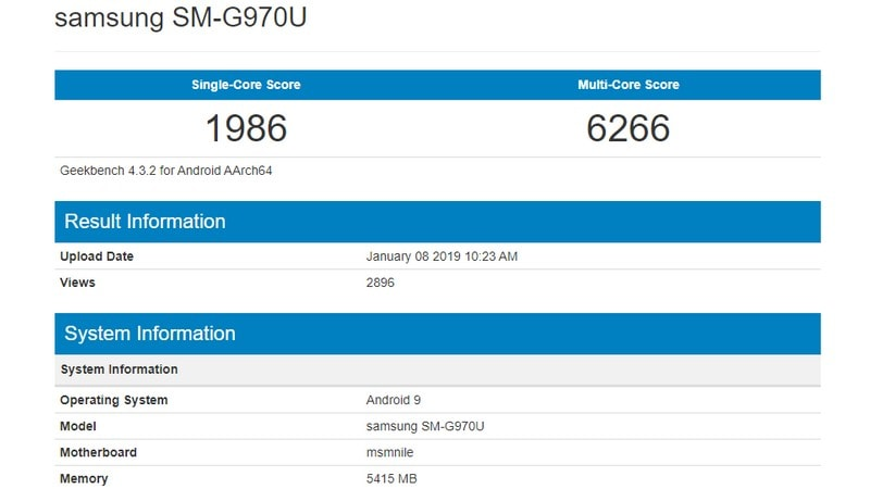 galaxy s10 lite benchmark large Samsung Galaxy S10 Lite Geekbench