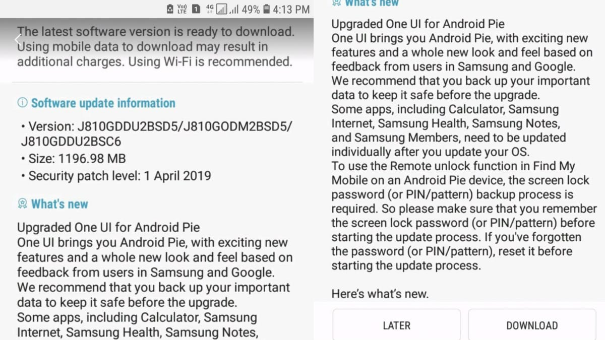 Samsung Galaxy J8 Android Pie Update Rollout Begins in India: Report