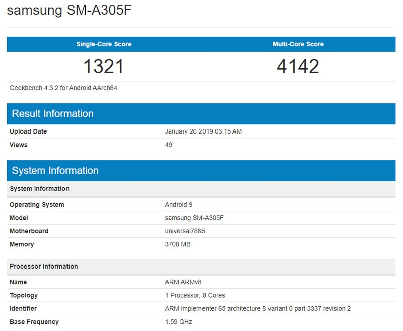 geekbence Samsung A30 samsung a3 geekbench leak