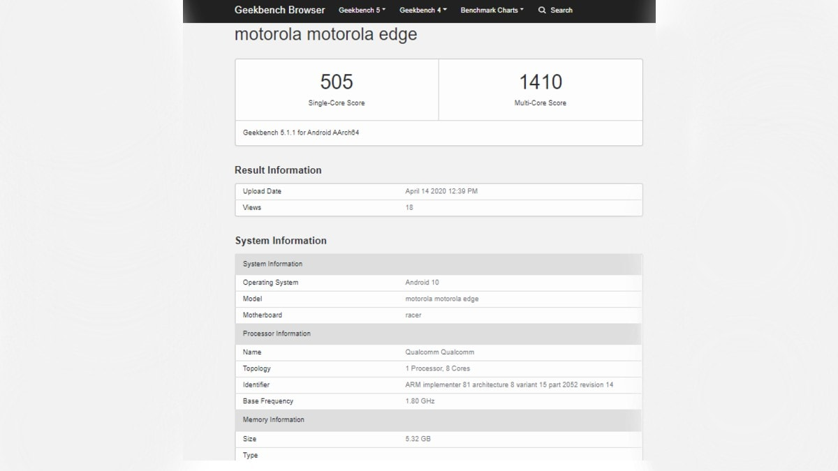 Motorola Edge Surfaces on Geekbench Ahead of Launch, 6GB RAM Tipped