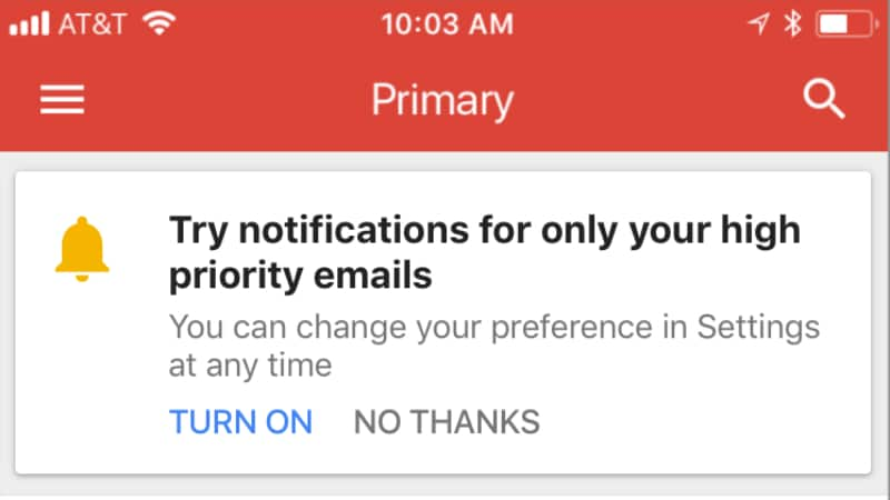 Gmail for iOS getting high-priority notifications
