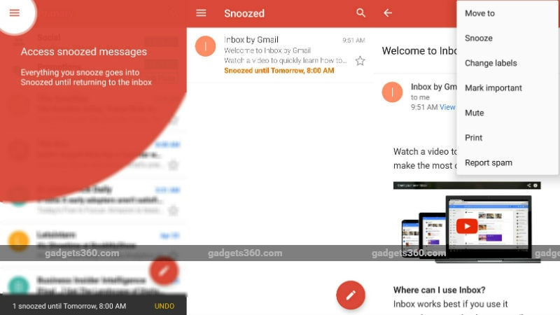 Gmail for Android Gets 'Snooze' Feature, May Bring Customisable Swipe Actions in App