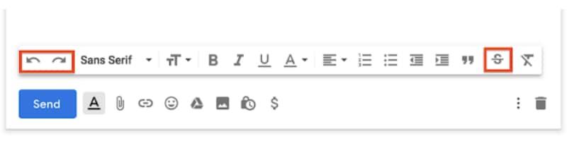 gmail undo redo strikethrough options Gmail