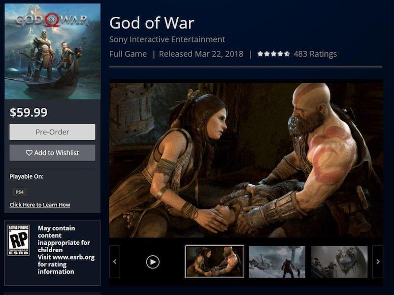 God of War Release Date Set by PlayStation Store