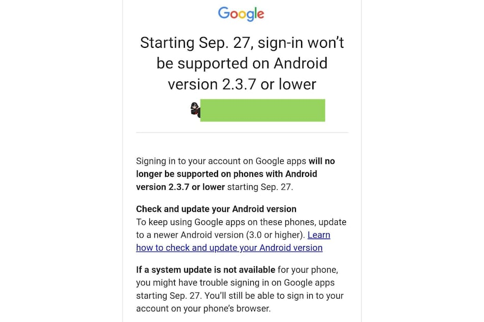 Google to End Support for Gmail, YouTube, Drive Account Sign-in on Old Android Phones Soon