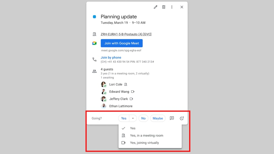 Google Calendar Gets RSVP Option for Attending Meetings Virtually