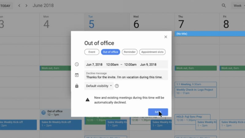 Google Calendar Adds 'Out of Office' Entry Type, Lets You Restrict Your Working Hours