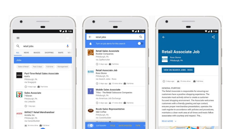 Google Search can now assimilate jobs from various websites