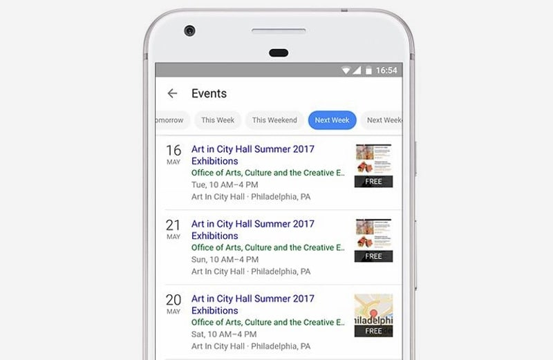 Google search results will cure your boredom with a local events calendar