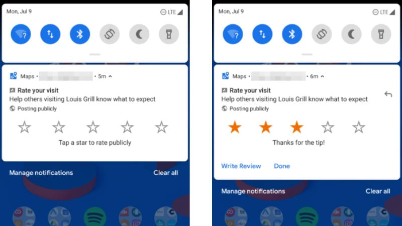 Google Maps for Android Lets Users Give Ratings to Places Directly From Notifications