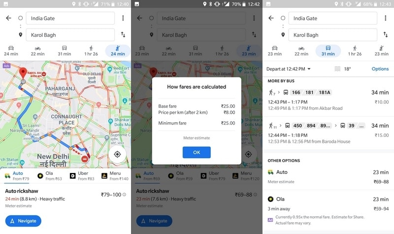 Google Maps Gets Auto Rickshaw Public Transport Mode in Delhi, With Routes and Estimated Fares