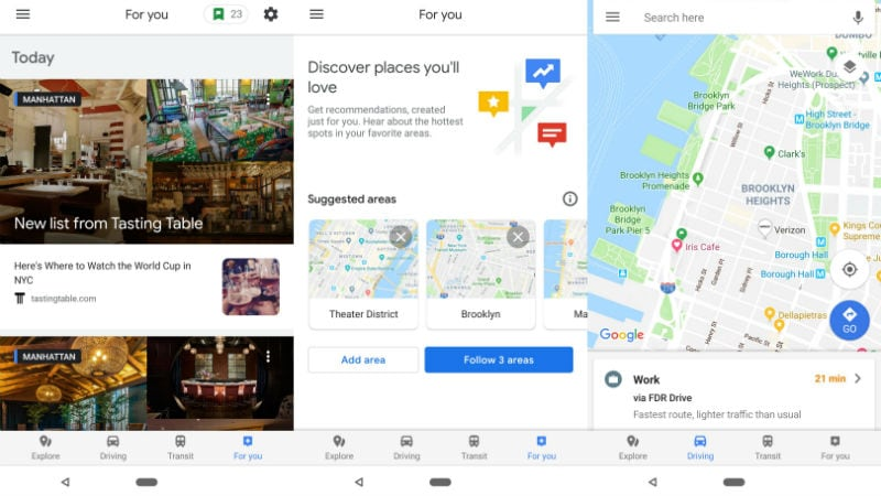 Google Maps 'For You' Tab Starts Rolling Out to Some Users