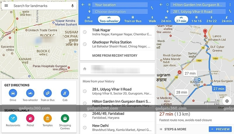 Google Maps Gets Motorcycle Mode in India Showing Navigation Routes for Two Wheelers