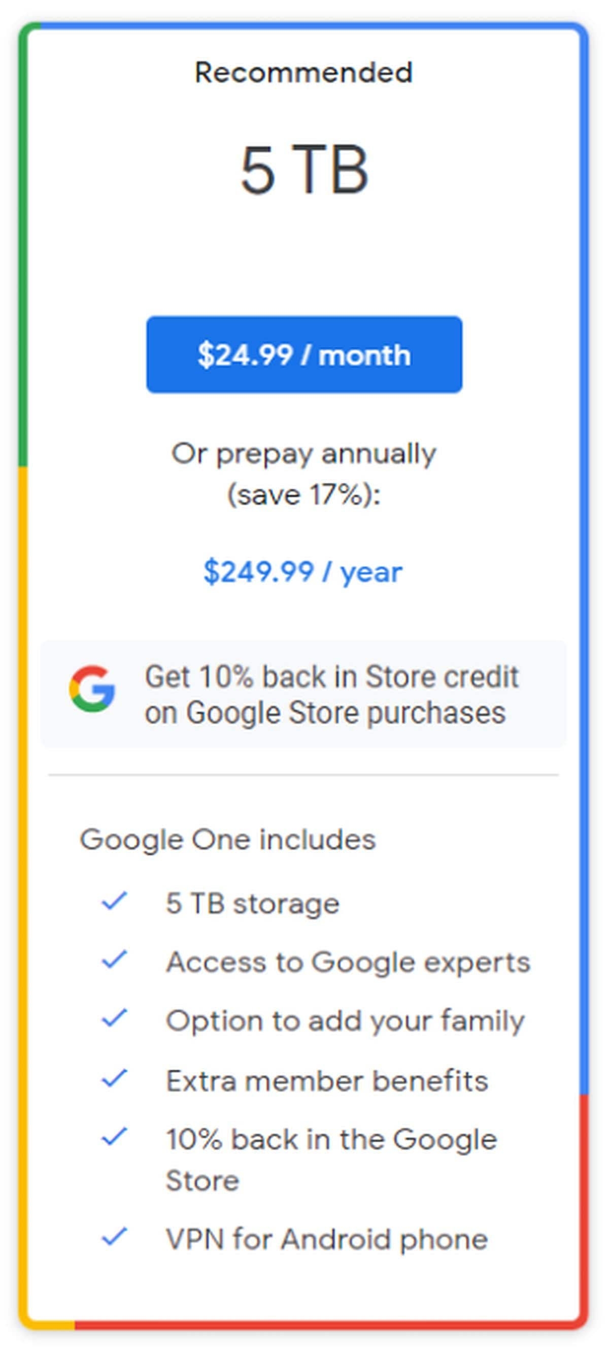 plano de armazenamento google one 5 TB 9to5google google_one_5tb_storage_plan_9to5google