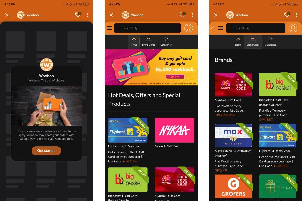 google pay woohoo digital gift card store screenshots gadgets 360 Google Pay