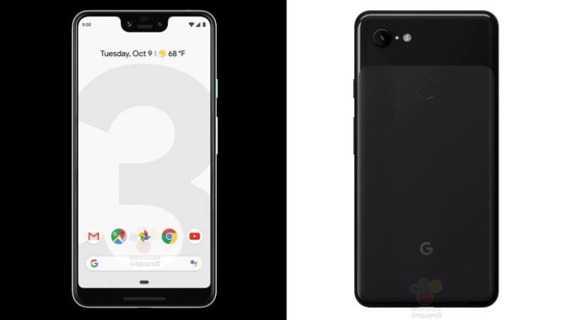 Google Pixel 3, Pixel 3 XL Official-Looking Renders Reveal Black, White Colour Options