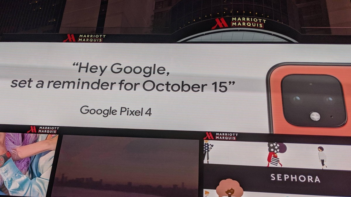 Google Pixel 4 Coral Variant Revealed in Official Times Square Billboard