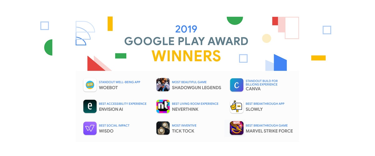 Google Play Awards for 2019 Announced: Canva, Slowly, Woebot, Tick Tock, MARVEL Strike Force Among Winners
