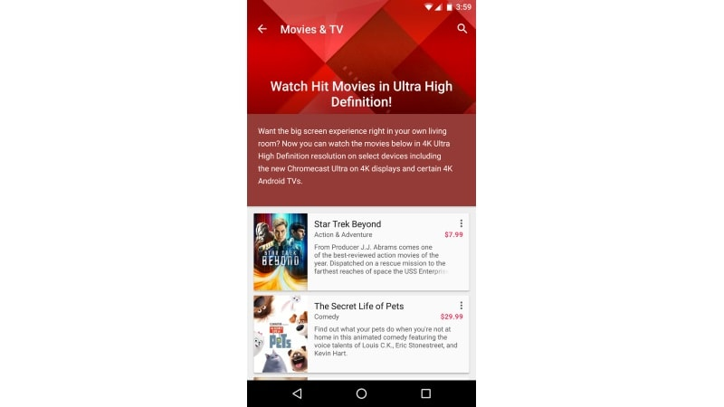 Google Play Movies Starts Rolling Out 4K UHD Resolution Option
