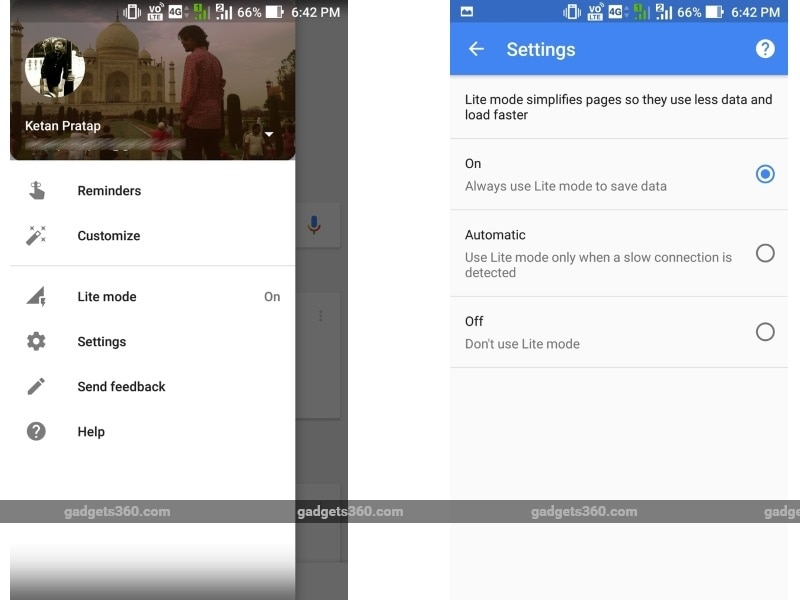 Google Testing Recent Tab, Offline Search, Lite Mode