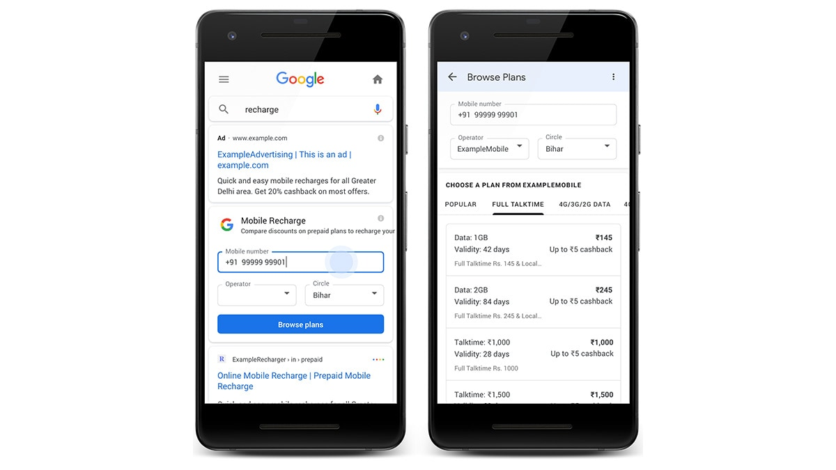 Google Search से ही अपने प्रीपेड मोबाइल को करें रीचार्ज