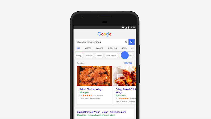 Google Search App's Revamped Carousel UI for Recipes Now Rolling Out