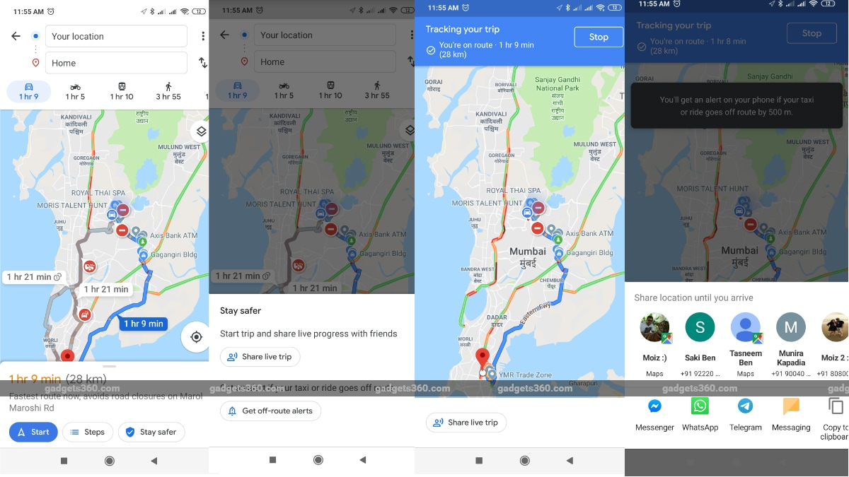 Google Maps will notify you if your vehicle goes off-route
