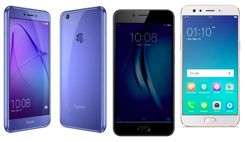 Honor 8 Lite vs Vivo V5s vs Oppo F3: Price and