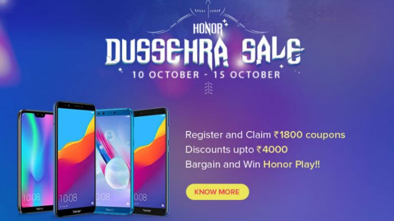 Honor 9N, Honor 9 Lite, Honor 7S, Honor Play, and More to Get Discounts, Offers During Dussehra Sale