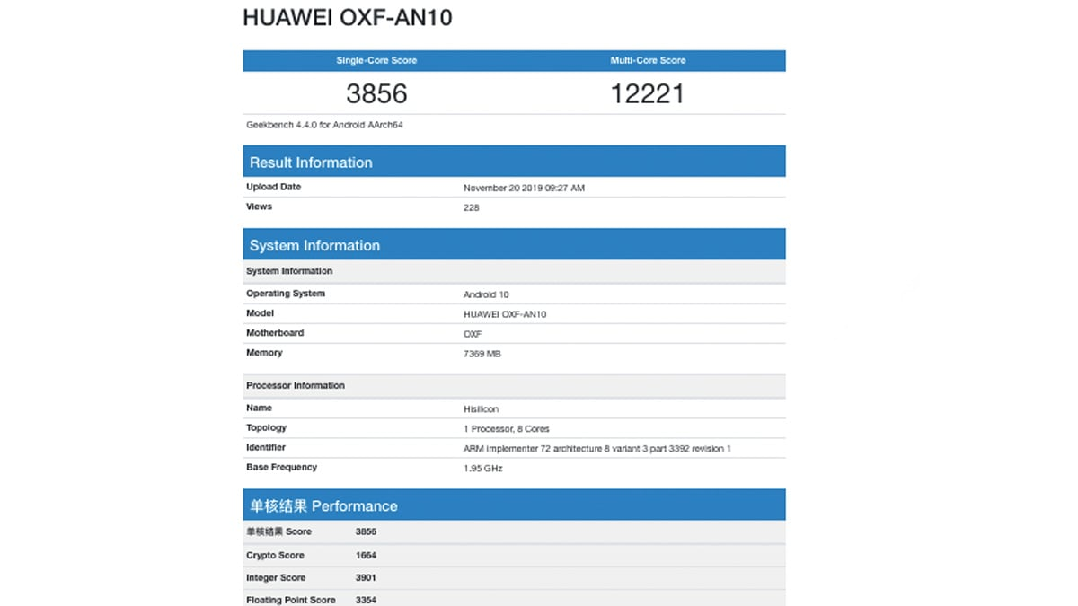 honor v30 geekbench benchmark gadgets360 Honor V30 Geekbench