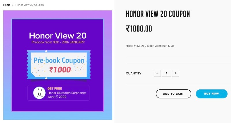 Honor View 20 India Pre-Bookings Open With Free Honor Sport Earphones on Offer
