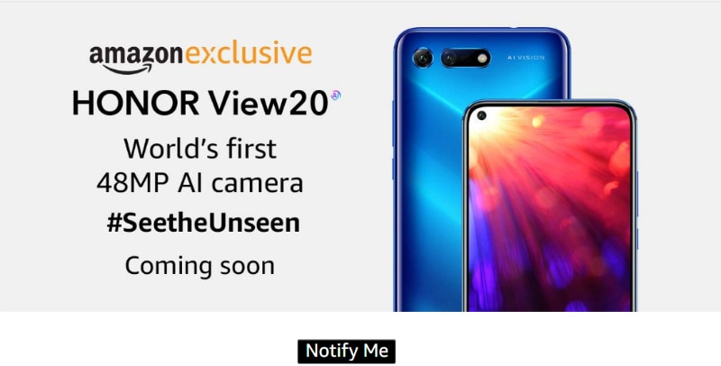 Honor View 20 to Be Amazon India Exclusive, Registrations Begin