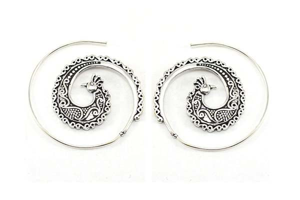 Hoop Earrings in India 2019 - Peacock Spiral Hoops