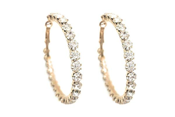 Hoop Earrings in India 2019 - Gold Crystal Hoop Earrings
